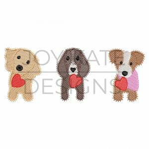 Sketch Valentine's Day Puppy Dogs with Hearts Embroidery Design
