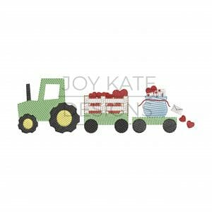 Valentine's Day Tractor with Hearts and Letters Sketch Design for Machine Embroidery