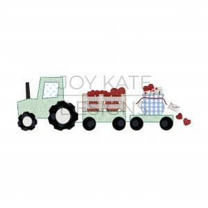 Valentine's Day Tractor with Hearts and Letters Applique Design for Machine Embroidery