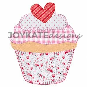 Blanket Stitch Raggy Applique Valentine's Day Cupcake