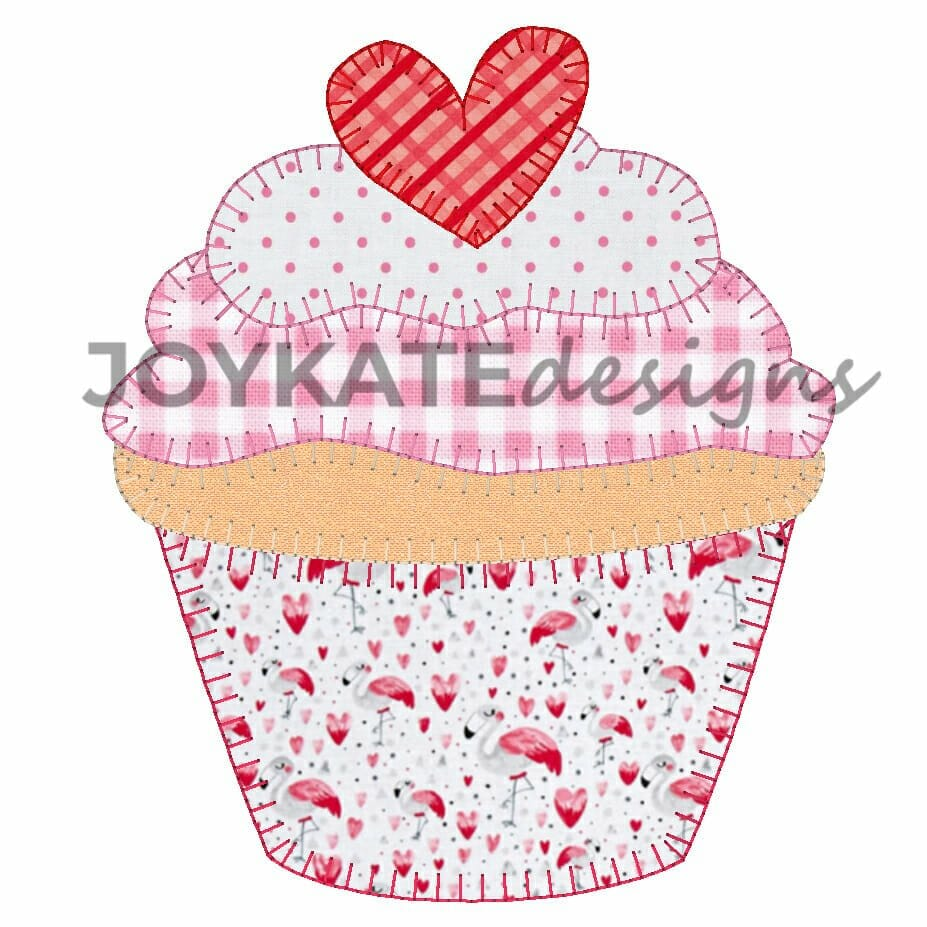 Valentine Heart Cupcake Vintage Applique Embroidery Design Joy