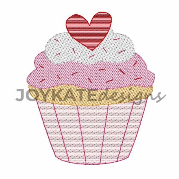 Bean Stitch and Light Fill Valentine's Day Cupcake