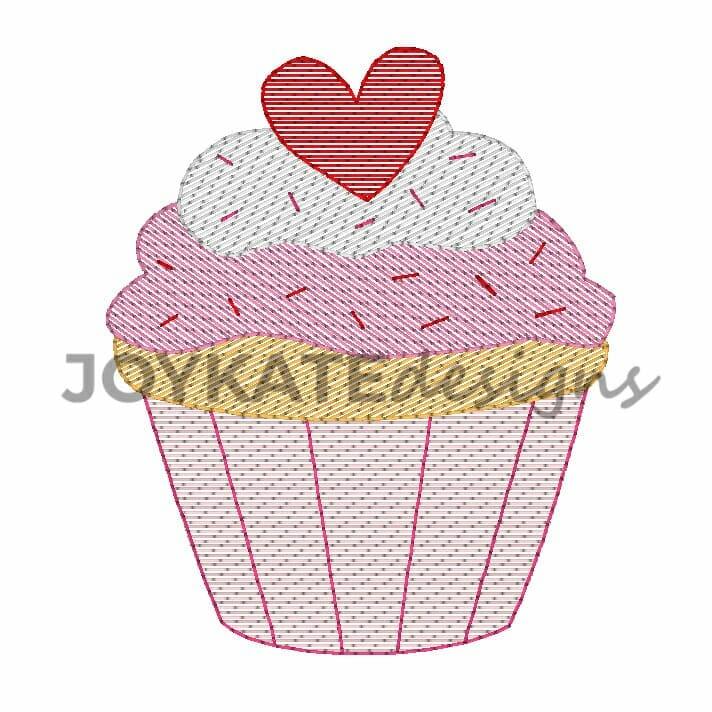 Valentine heart cupcake vintage embroidery design joy