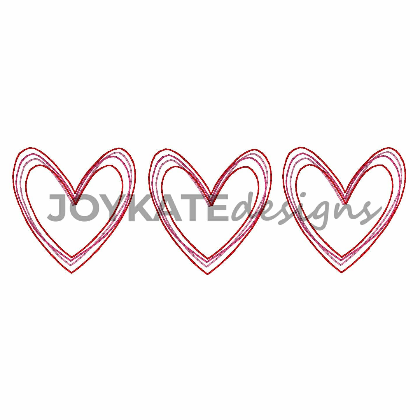 Valentine Heart Trio Vintage Embroidery Design Joy Kate Designs