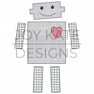 Bean Stitch Valentine's Day Robot with Heart Applique Design for Machine Embroidery