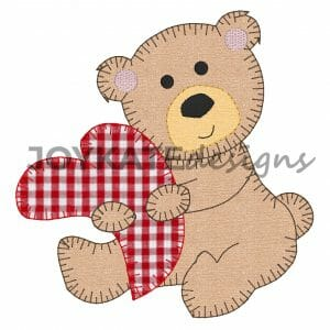 Blanket Stitch Raggy Applique Valentine's Day Stuffed Animal