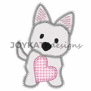 Zigzag Stitch Valentine's Day Puppy Dog Applique