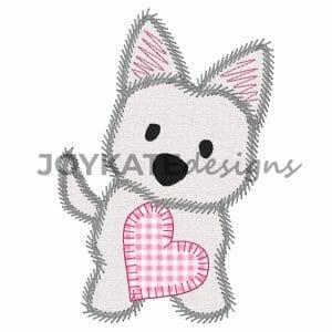 zigzag stitch valentines day puppy dog applique
