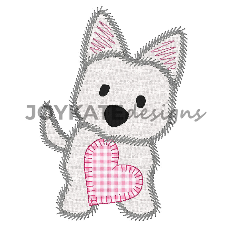 Valentine Westie Dog With Heart Vintage Applique Embroidery Design
