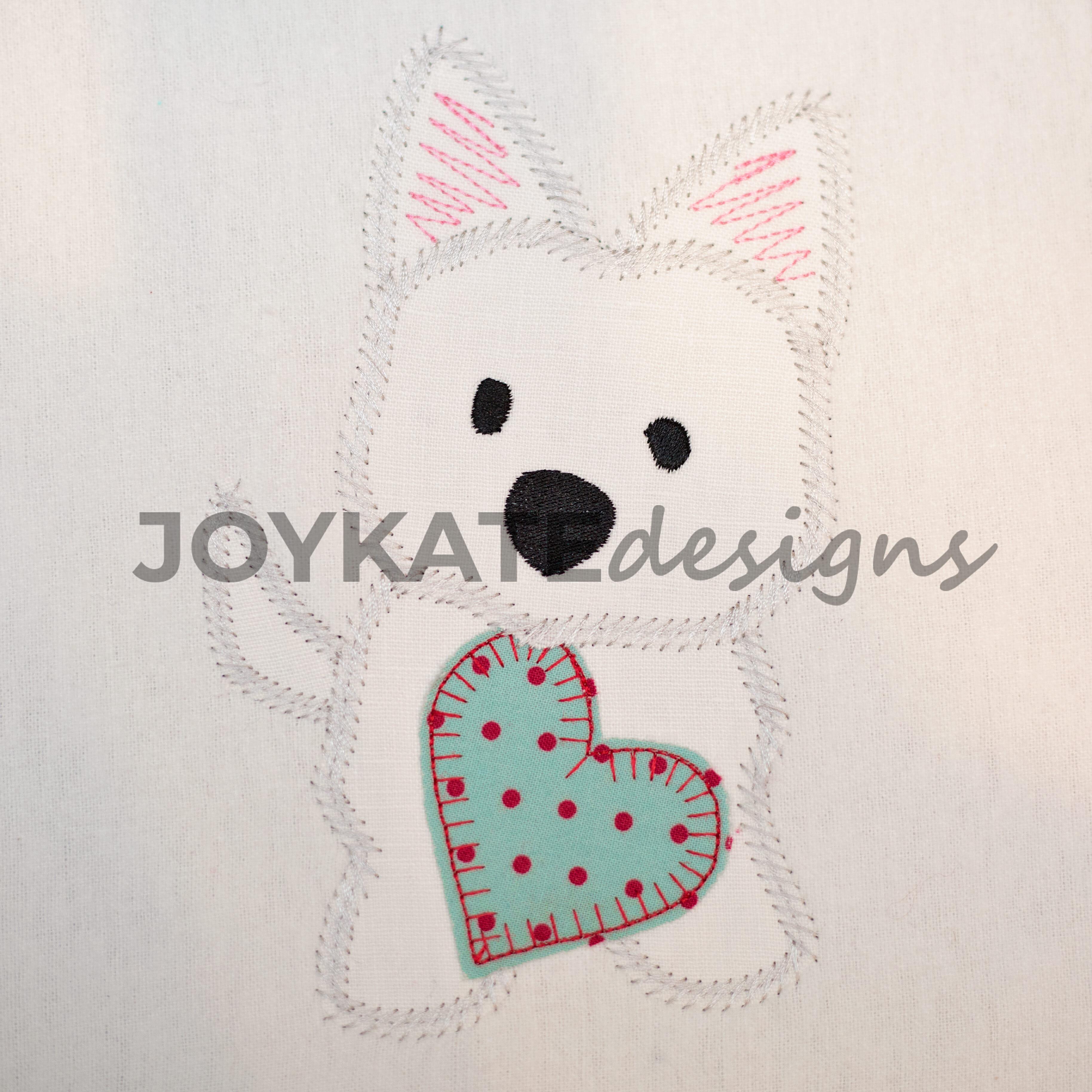 Valentine westie dog with heart vintage applique