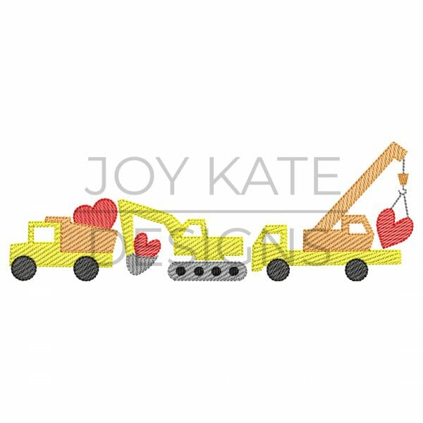Valentine's Day Construction Trio Light Fill/Low Density Embroidery Design. Dump truck, excavator, crane, and hearts.