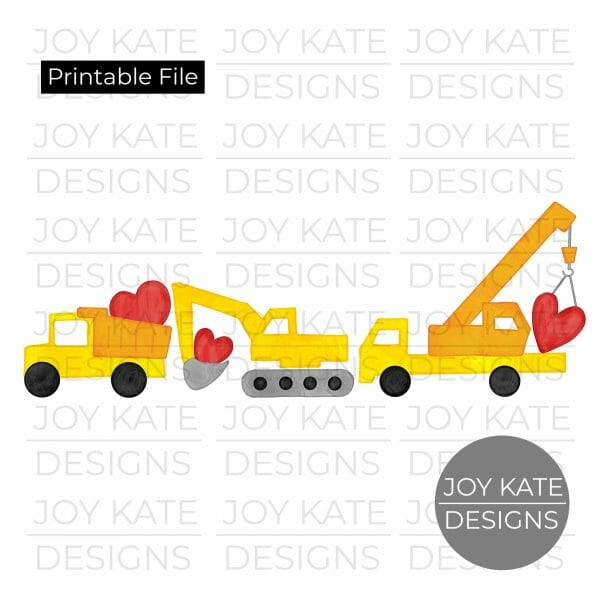 Valentine's Day construction vehicles watercolor PNG clipart image