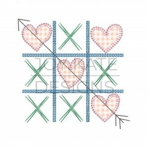 Valentine's Day Tic Tac Toe Applique Design for Machine Embroidery with Blanket stitch applique hearts with scribble X's and light fill board