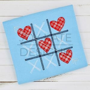 Tic Tac Toe With Applique Hearts Embroidery Design Joy