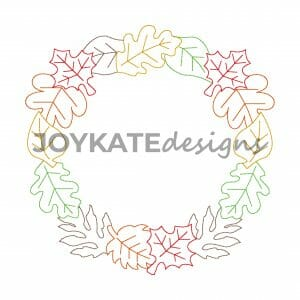 Quick Bean Stitch Autumn Leaf Circle Frame Design for Machine Embroidery