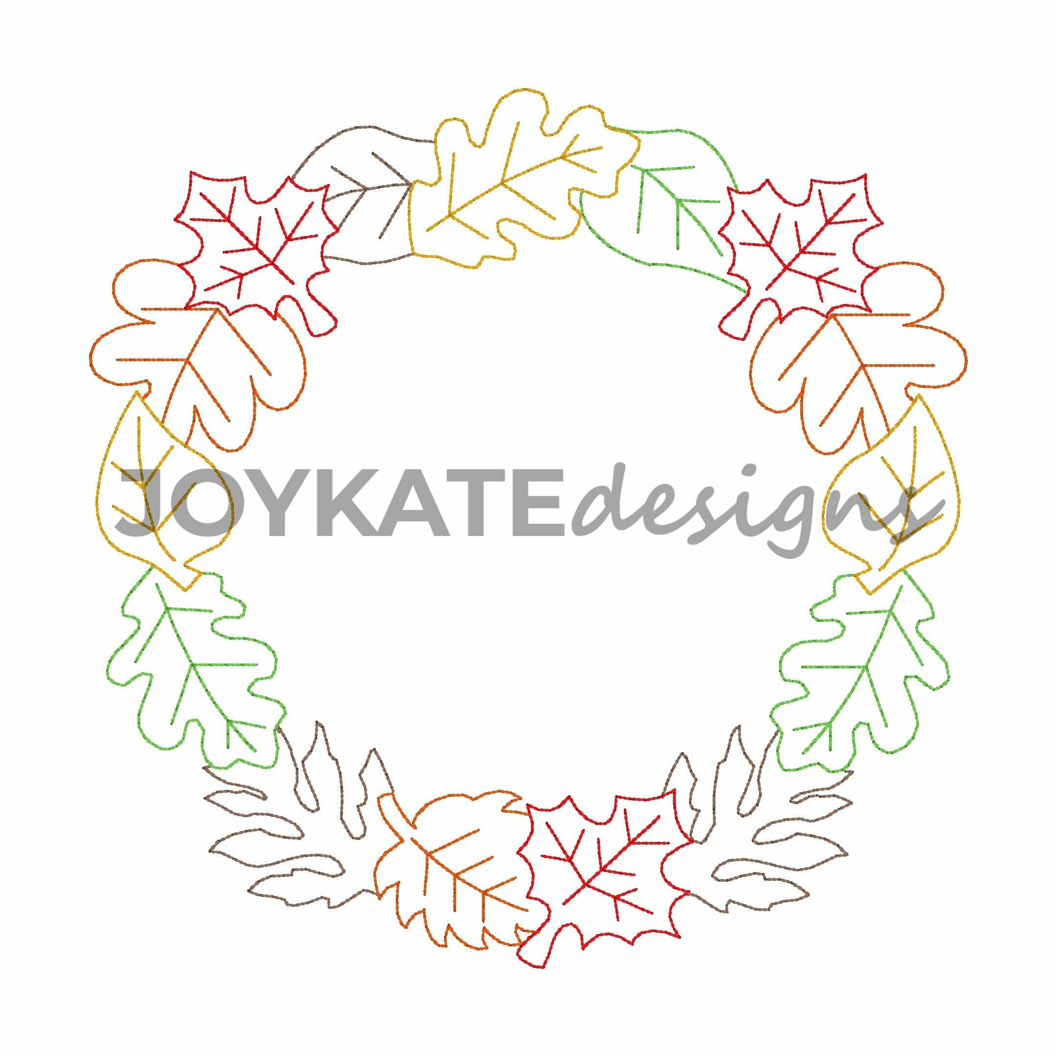 Vintage Bean Stitch Fall Leaf Frame Embroidery Design Joy Kate Designs
