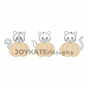 Bean Stitch Kittens in Light Fill Pumpkins