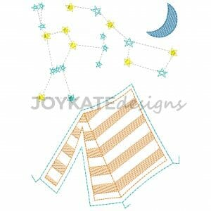 Bean Stitch and Light Fill Tent with Constellations and Moon Machine Embroidery Design
