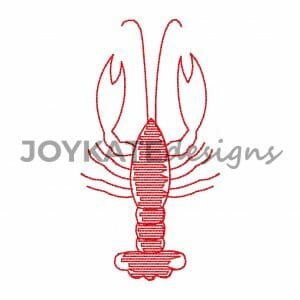 Bean stitch and light sketch fill crawfish design for machine embroidery