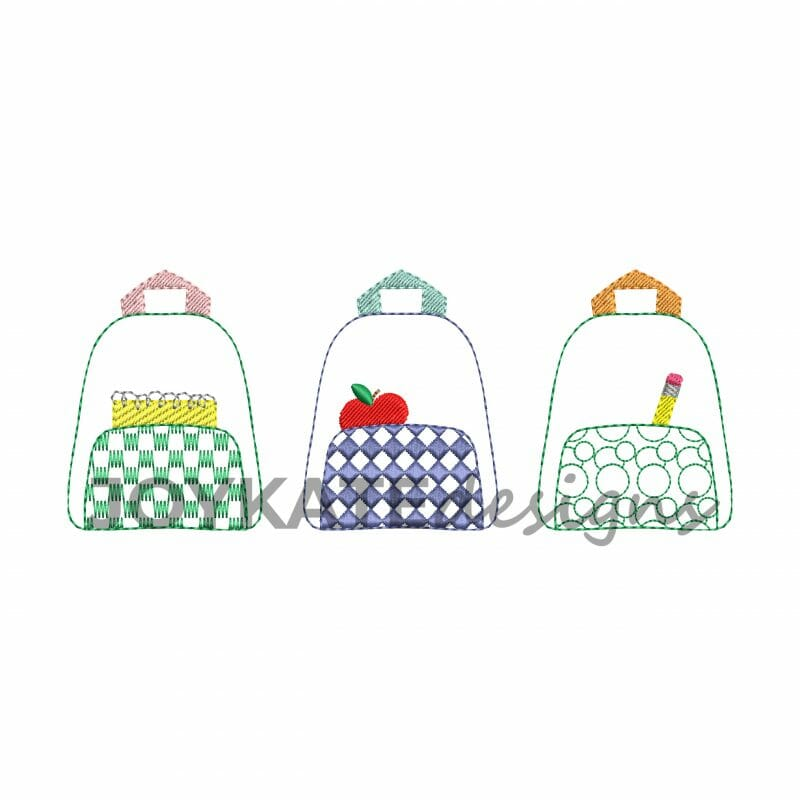 Vintage Stitch Backpack Trio Embroidery Design Joy Kate