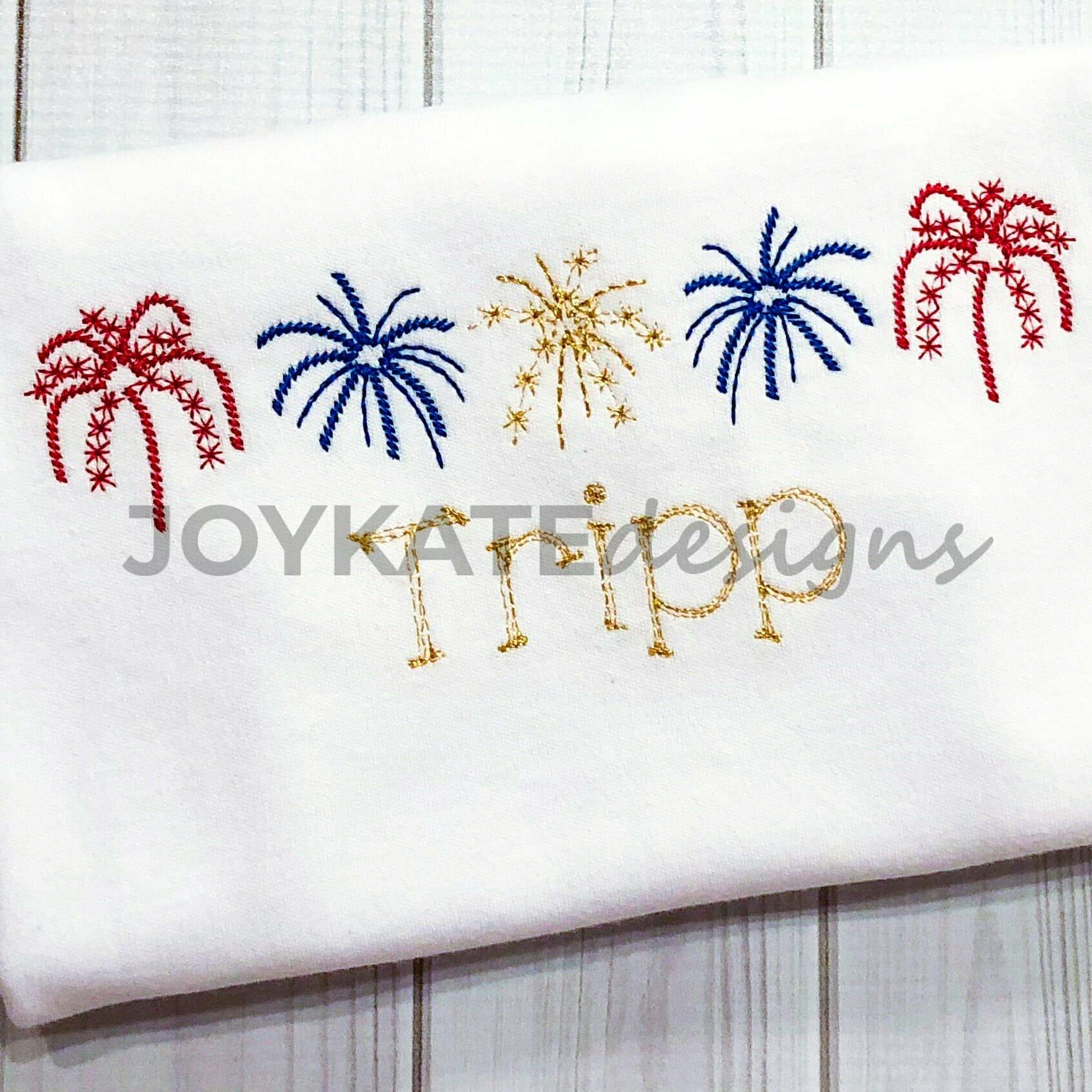 Sparklers Vintage Embroidery Design   Joy Kate Designs