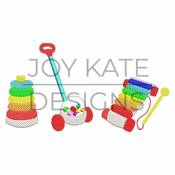 Row of three vintage toys light fill sketch embroidery design