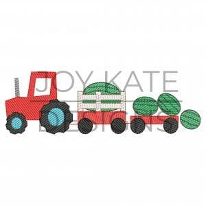 Sketch Watermelon Farm Tractor Embroidery Design