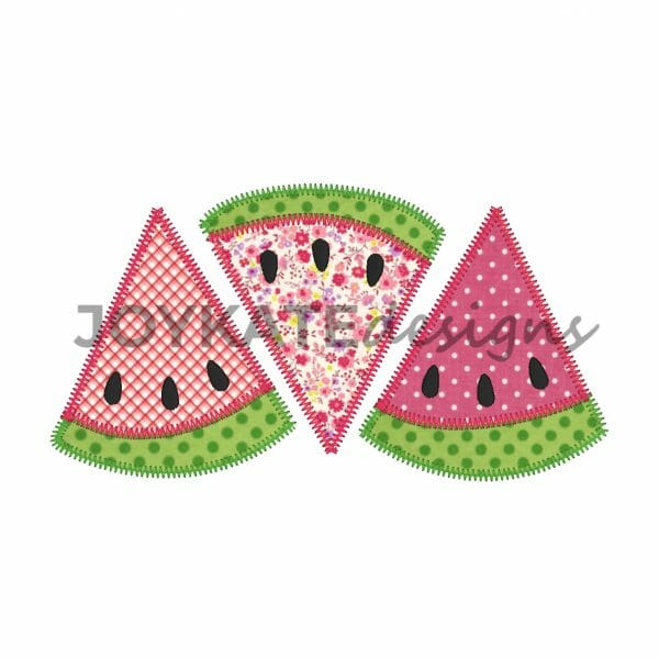 Zigzag Watermelon Applique Design for Machine Embroidery
