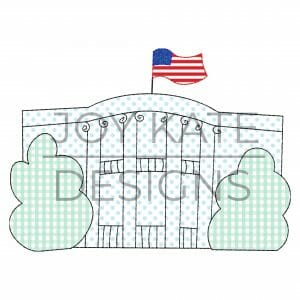 White House with Flag and Trees Vintage Applique Design for Machine Embroidery