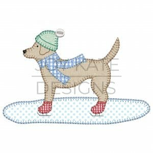 Lab Dog with Hat, Scarf, and Ice Skates Applique Design for Machine Embroidery
