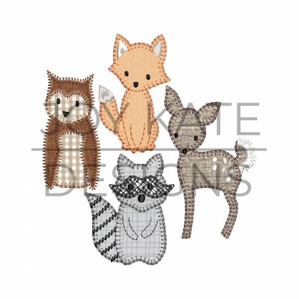 Set of 4 Blanket & Zigzag Woodland Animal Applique Designs