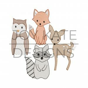 Set of 4 Sketch Fill Woodland Animal Embroidery Designs