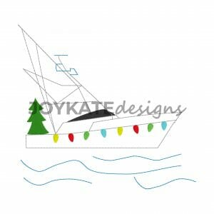 Vintage Bean Stitch Christmas Fishing Yacht Design for Machine Embroidery