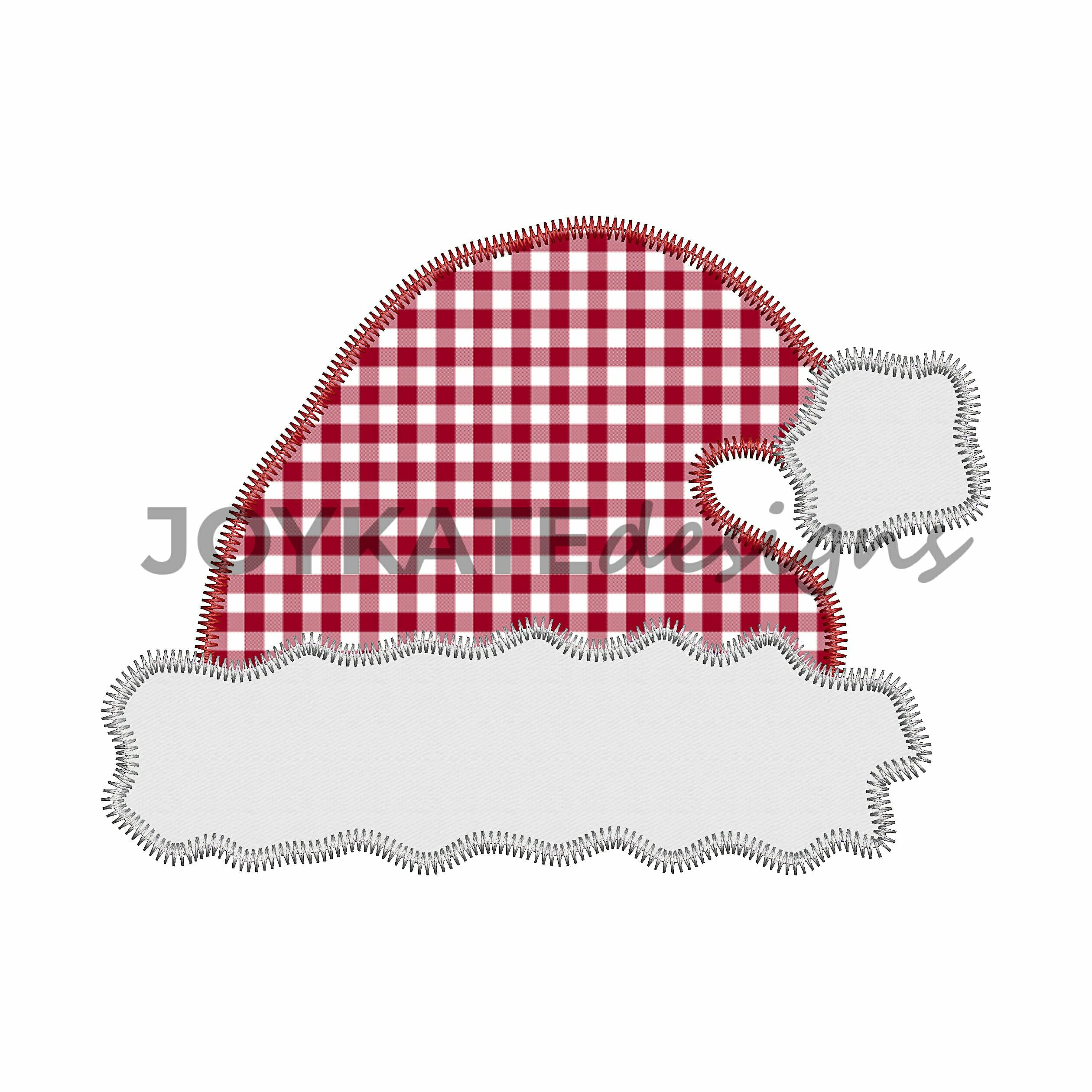 ef00c4ee990ab Christmas Santa Claus Hat with Zigzag Finish for Machine Embroidery